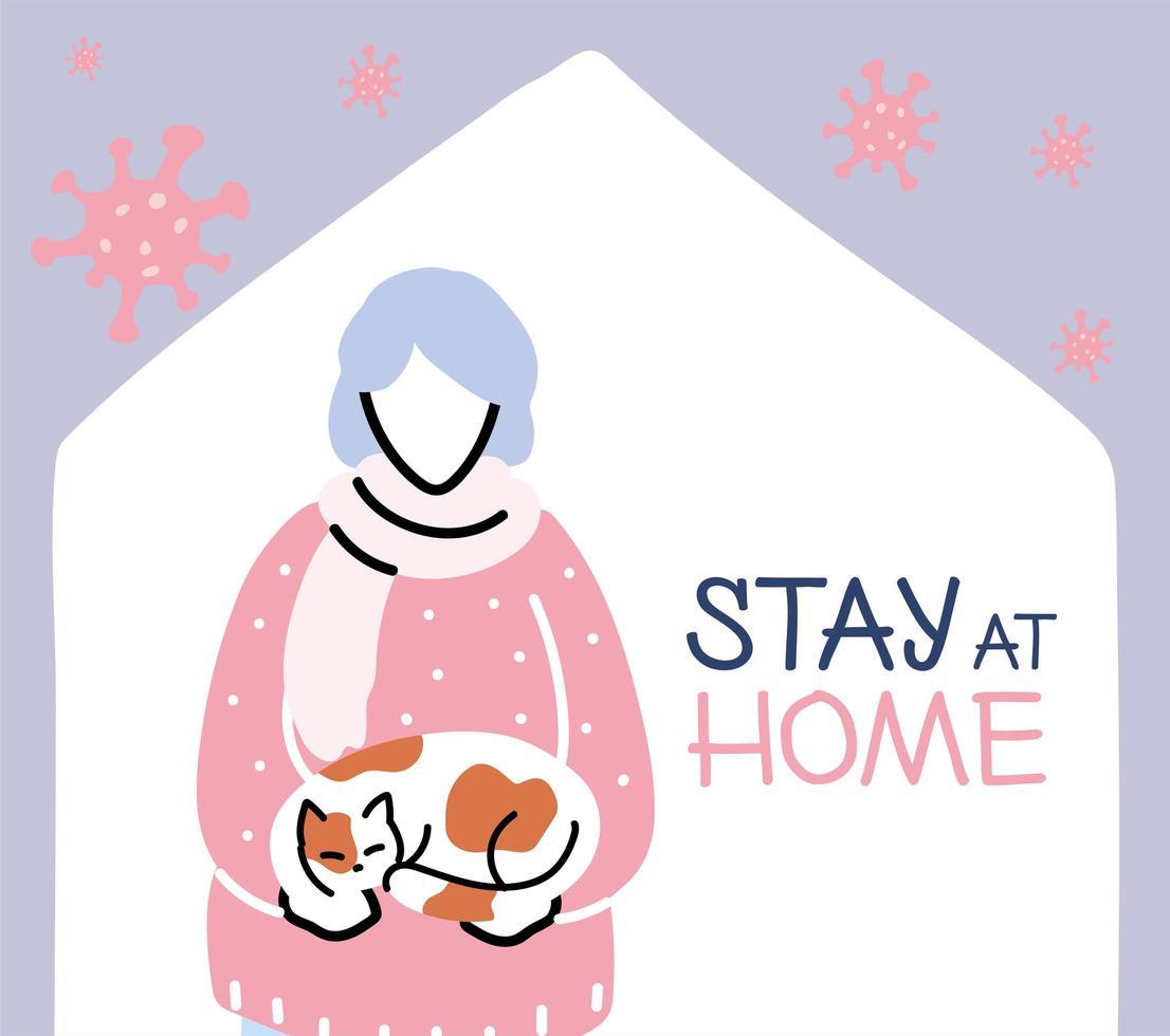 bejaarde vrouw met kat thuis, coronavirus pandemie vector