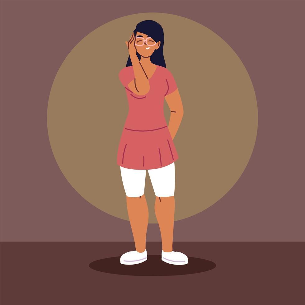 jonge vrouw vrijetijdskleding dragen vector