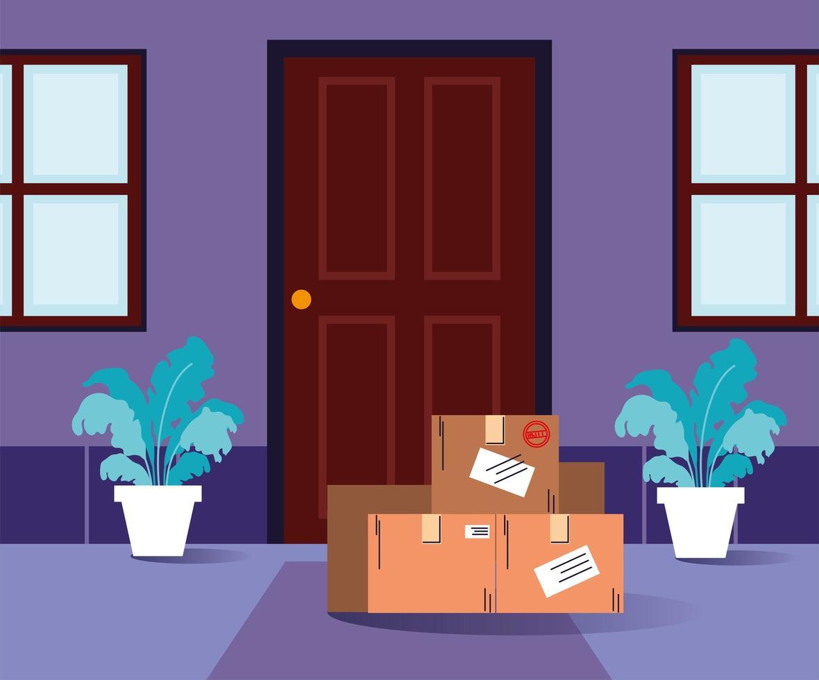 dozen met aankopen staan voor de deur vector