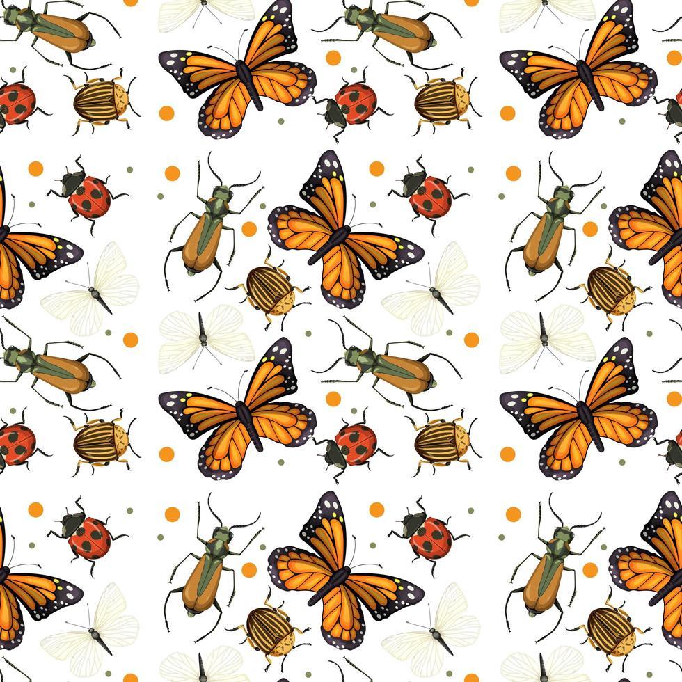 verschillende insecten naadloze patroon vector