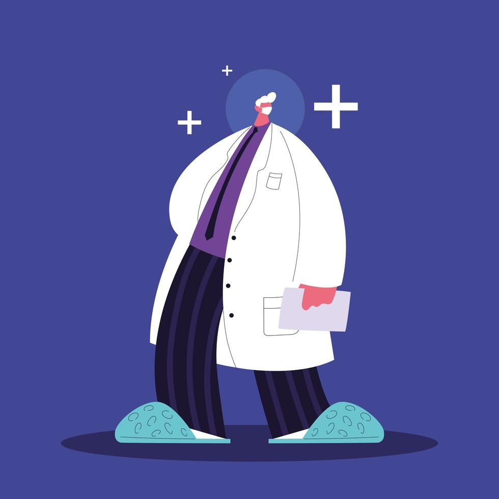 man arts permanent, medisch personeel vector