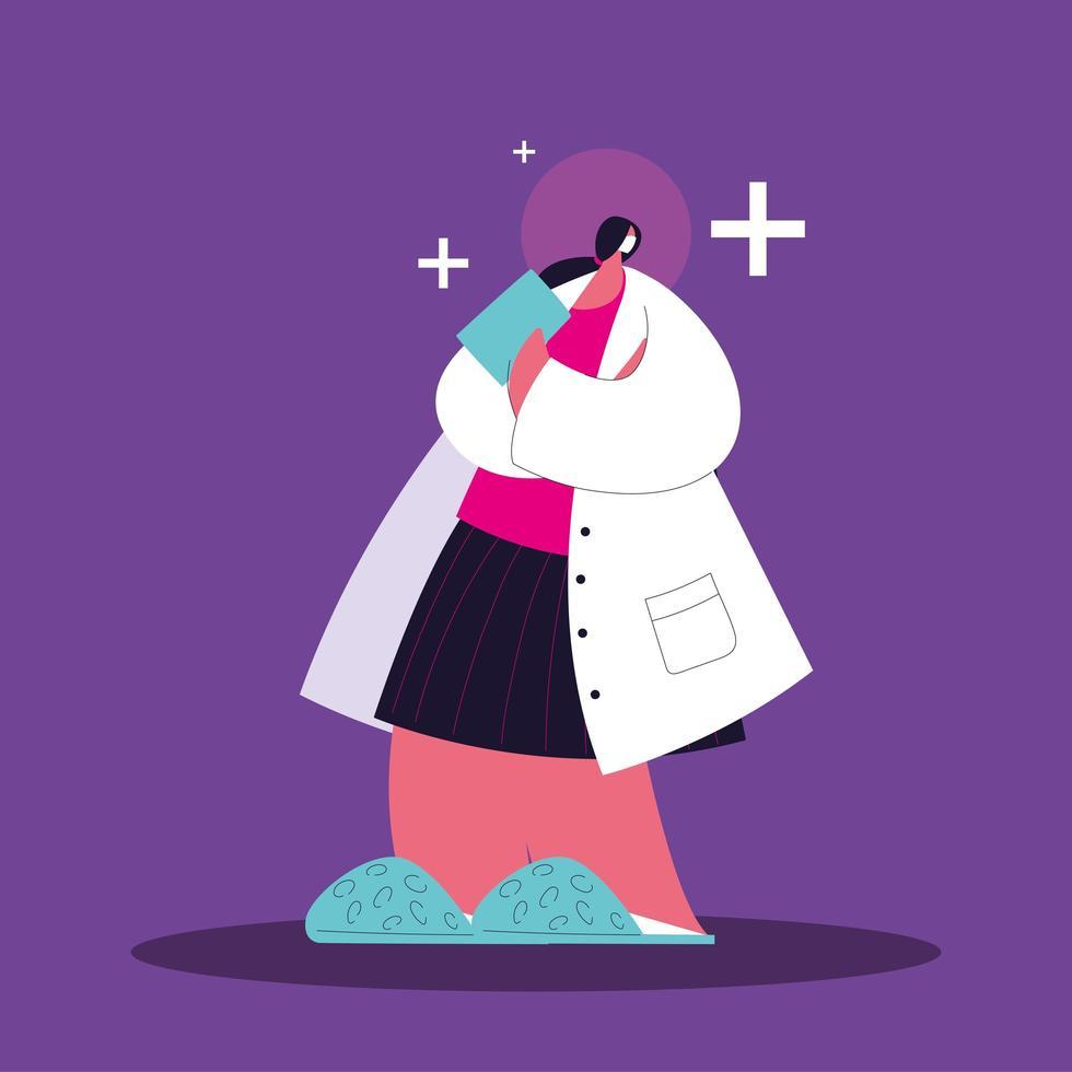vrouwelijke arts permanent, medisch personeel vector