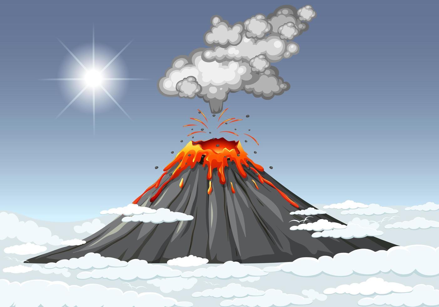 vulkaanuitbarsting in de lucht met wolken vector