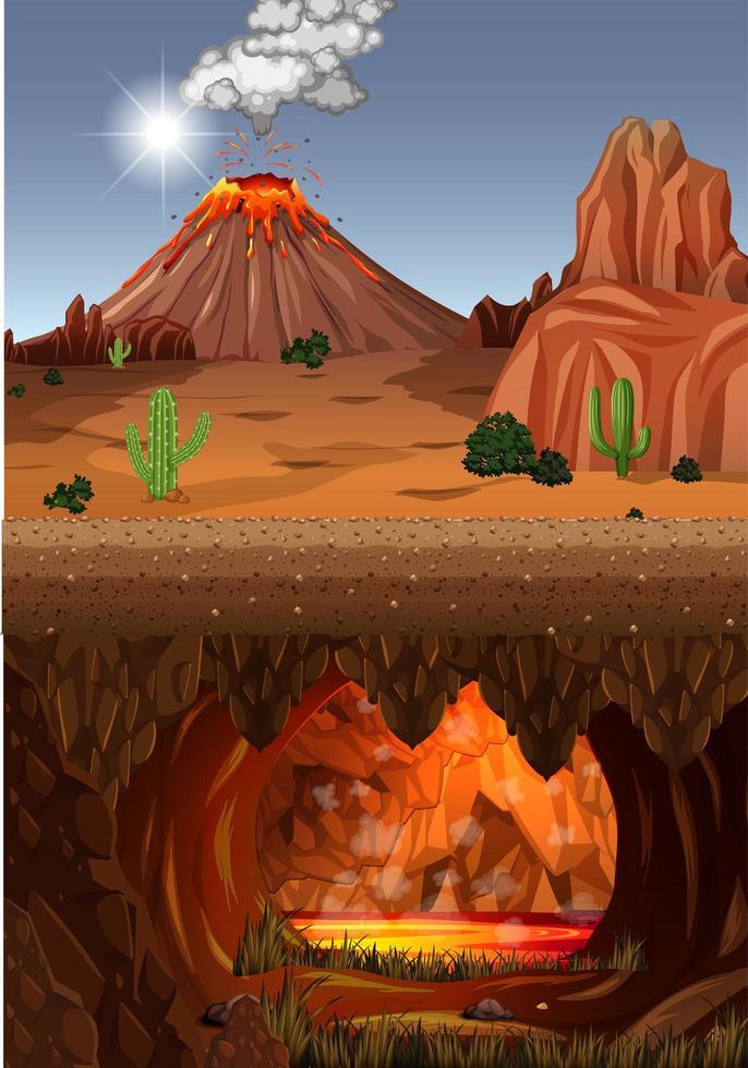 vulkaanuitbarsting in de natuur bosscène vector