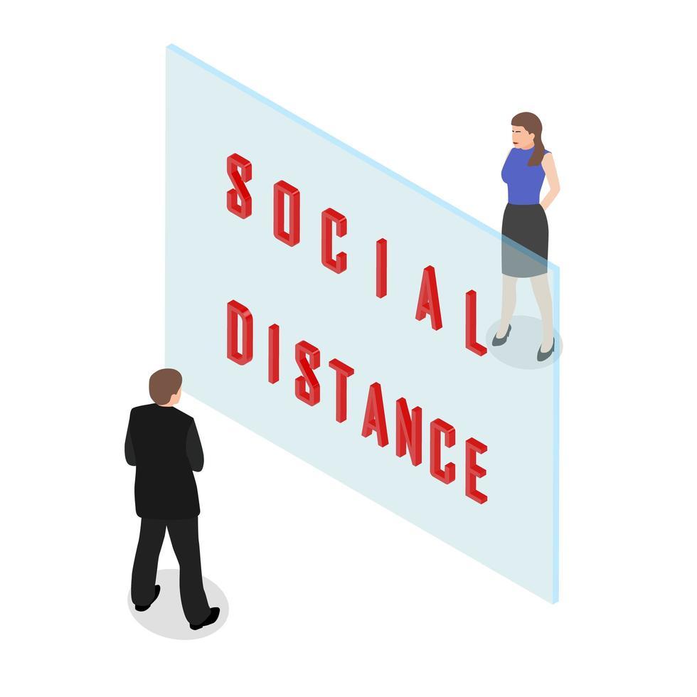 isometrische sociale afstand concept vector