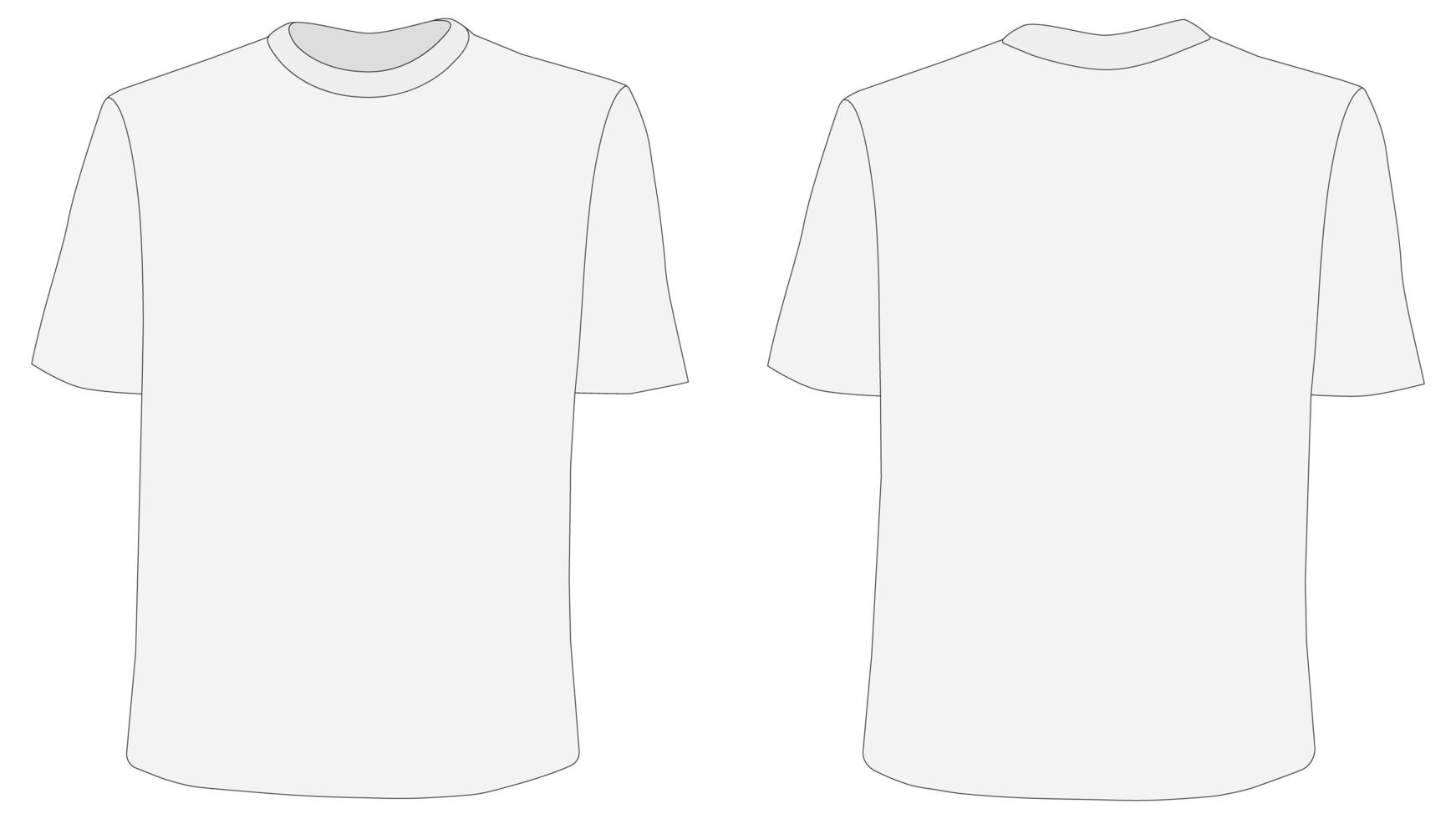 t-shirtmodel, voor- en achterkant vector
