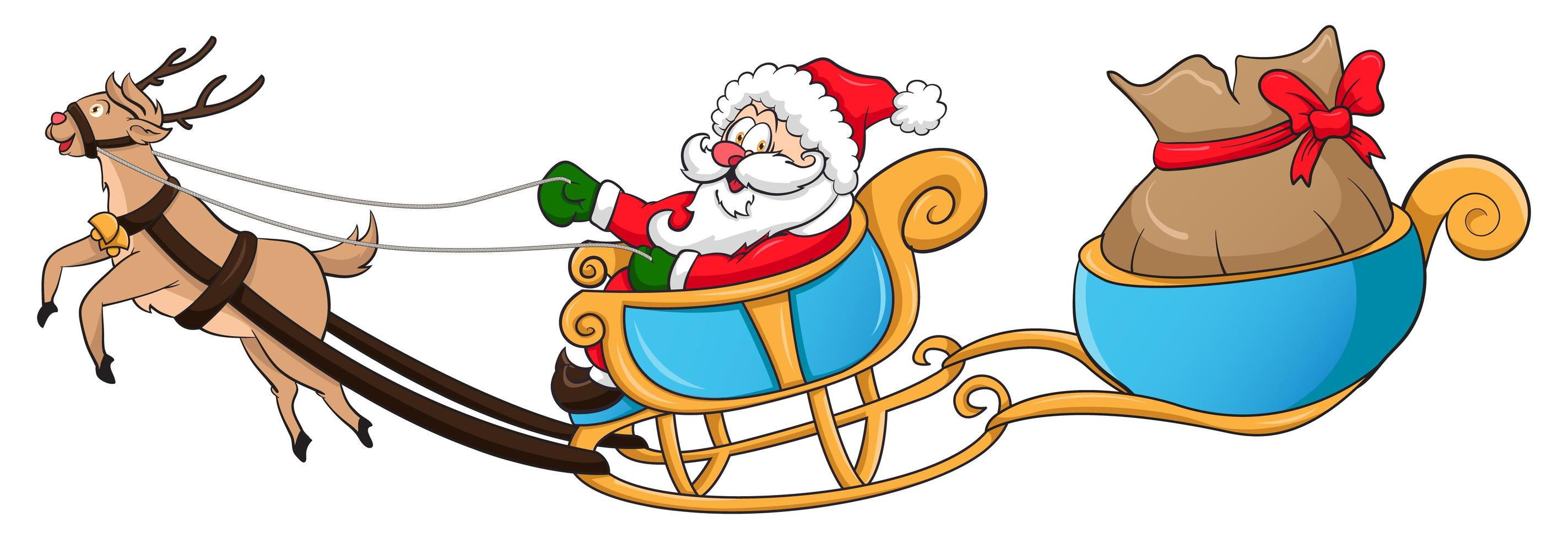 kerstman en rendierwagen vector