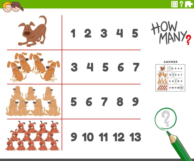 activiteit tellen met dierlijke stripfiguren van honden vector