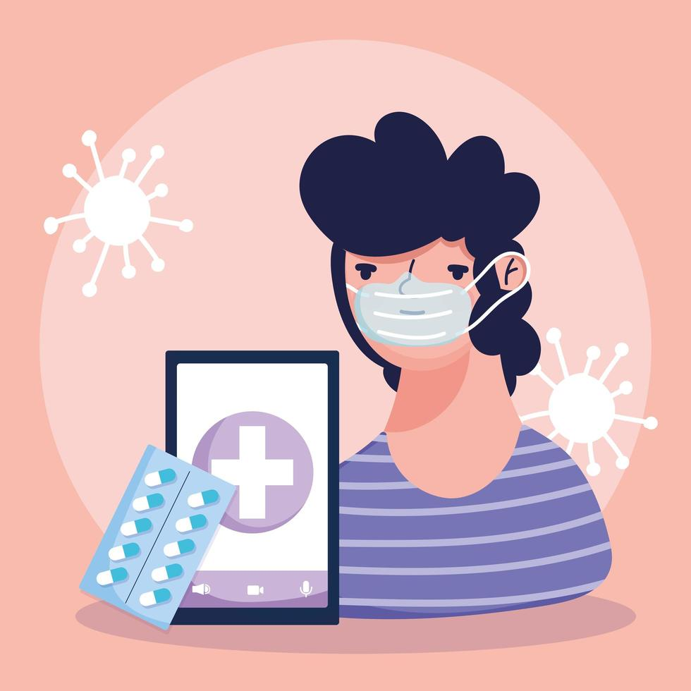 online gezondheidszorgconcept met zieke patiënt vector