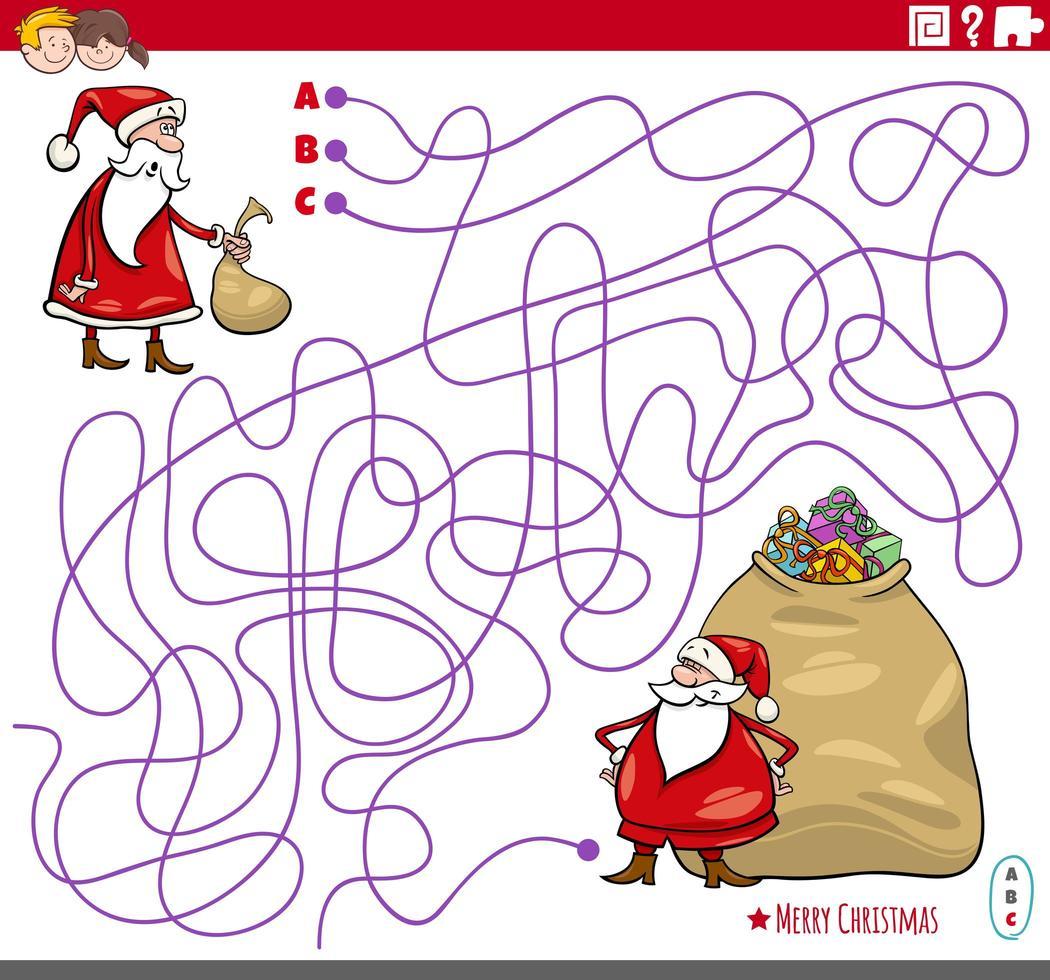educatief doolhofspel met stripfiguren van de kerstman vector