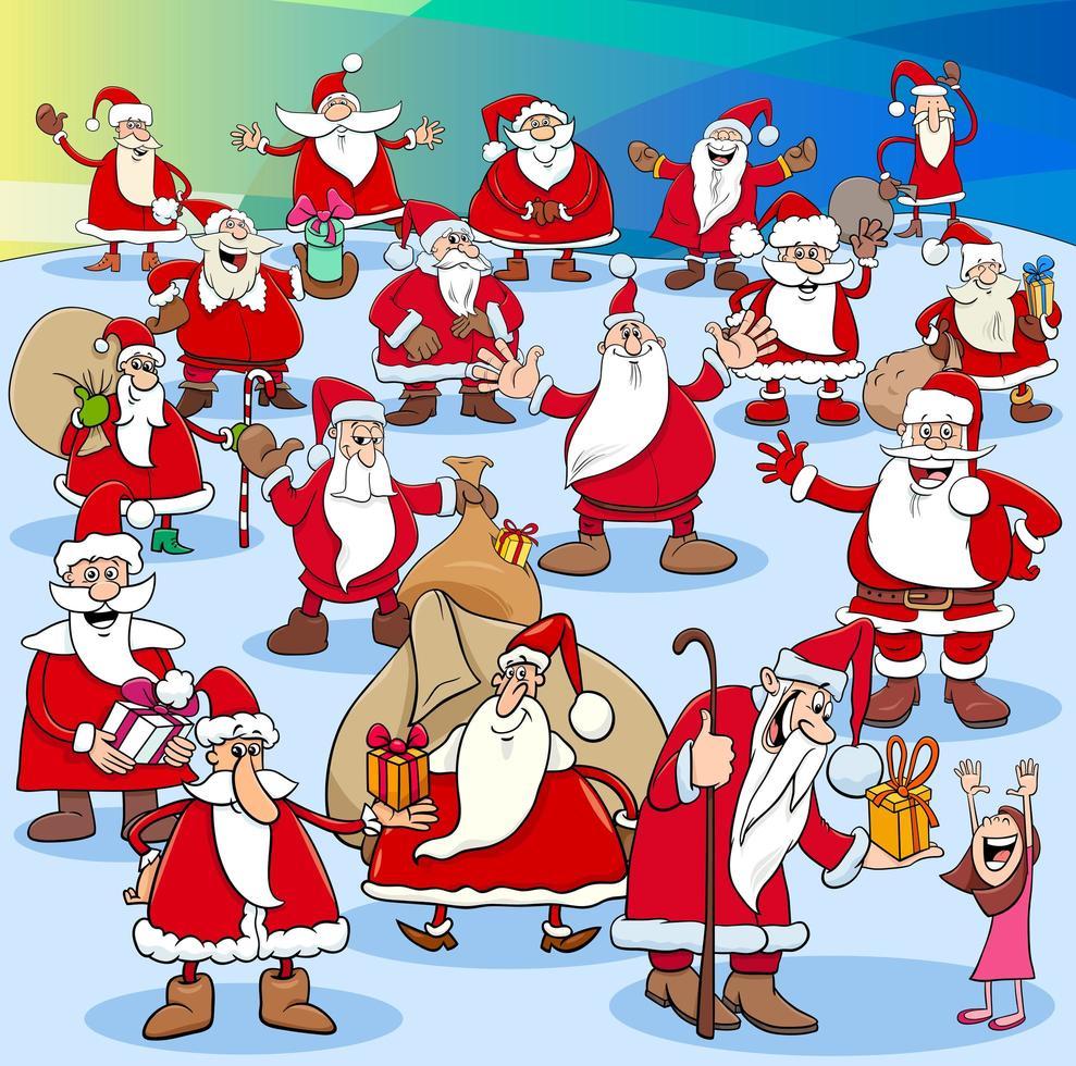 kerstman-groep op kersttijd vector