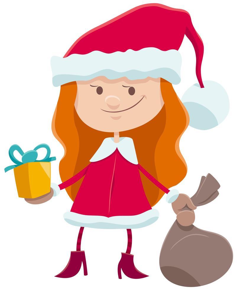 klein meisje in stripfiguur van het kerstman kostuum vector