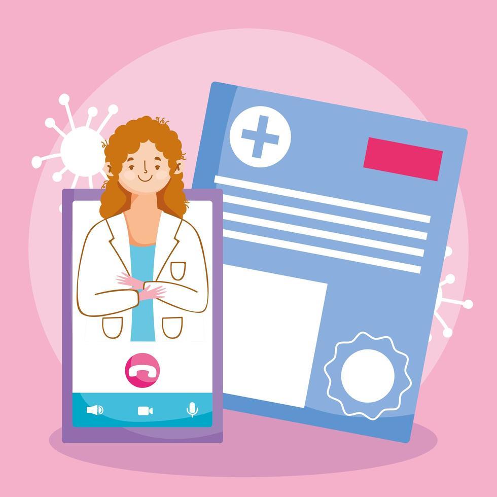 online doktersbezoekconcept met arts en smartphone vector