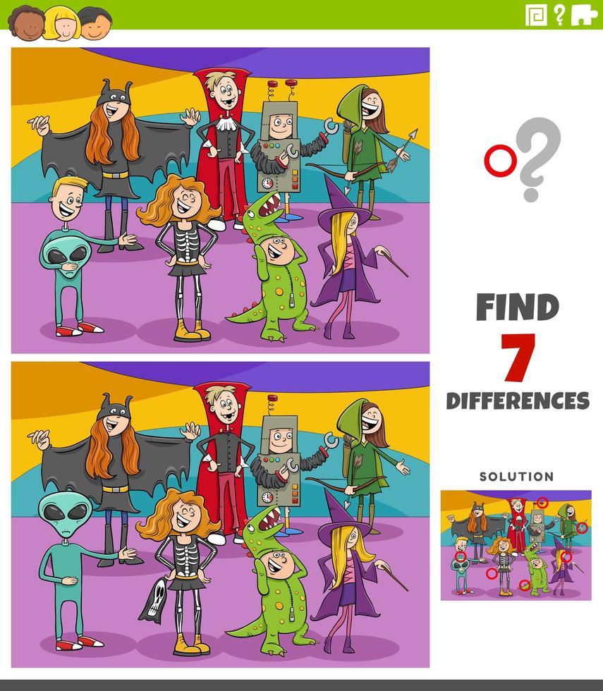 verschillen educatieve taak voor kinderen met halloween-karakters vector