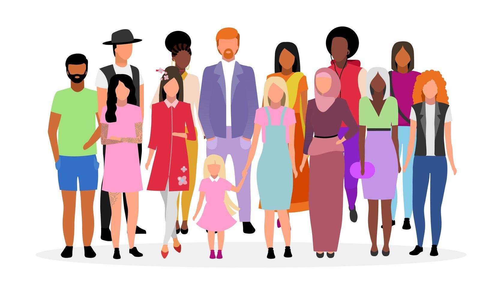 multiculturele mensen groep platte vectorillustratie. vector