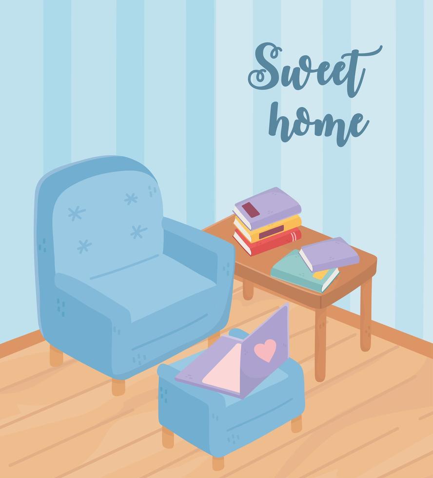 gezellig interieur met meubels en boeken vector