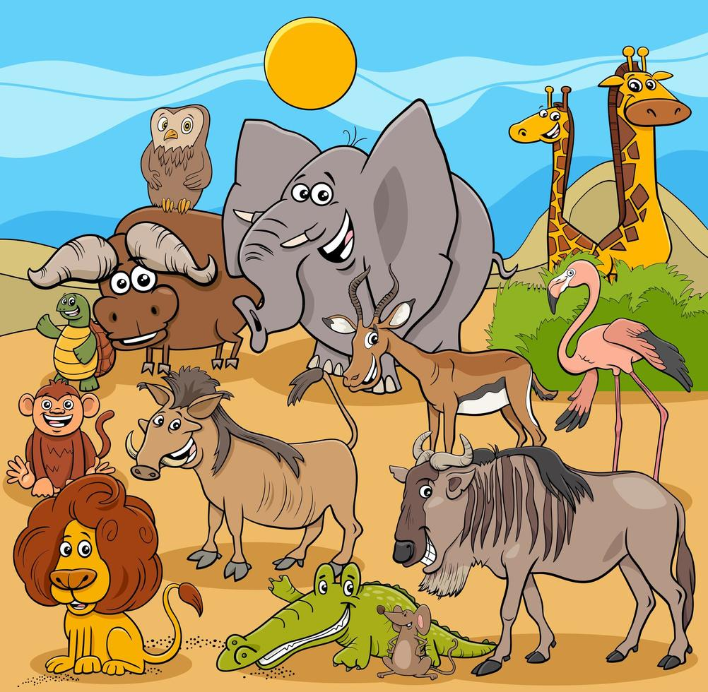 cartoon wilde dieren karakters groep vector