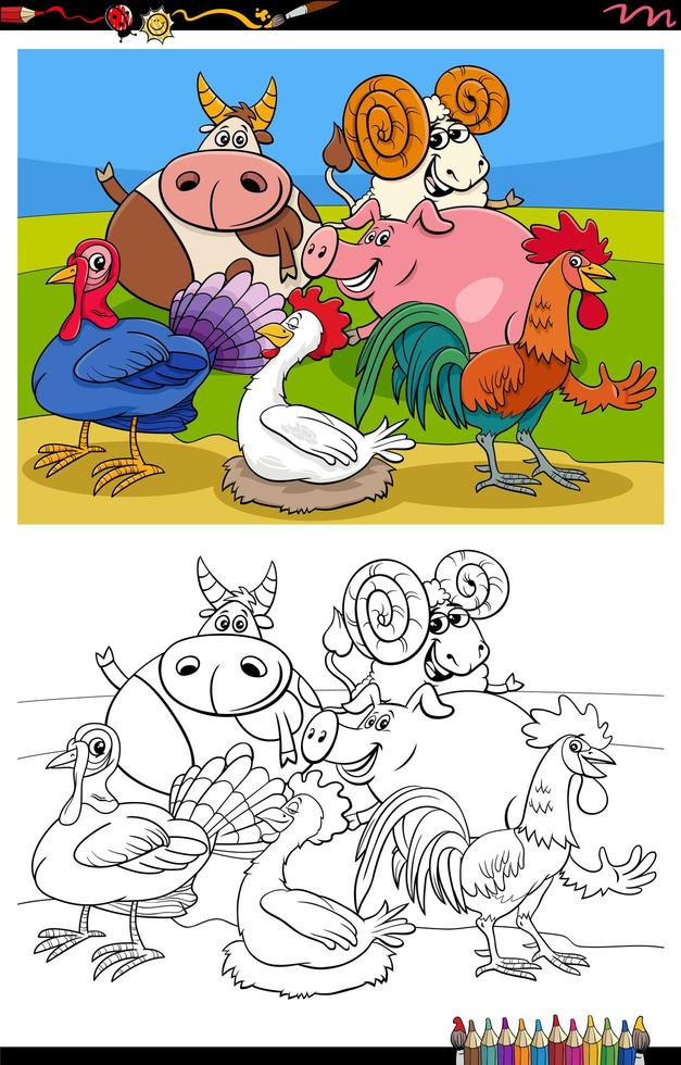 boerderijdieren groep cartoon afbeelding kleurboekpagina vector
