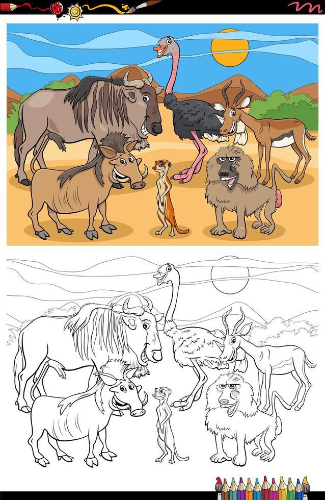 cartoon grappige dieren groep kleurboekpagina vector