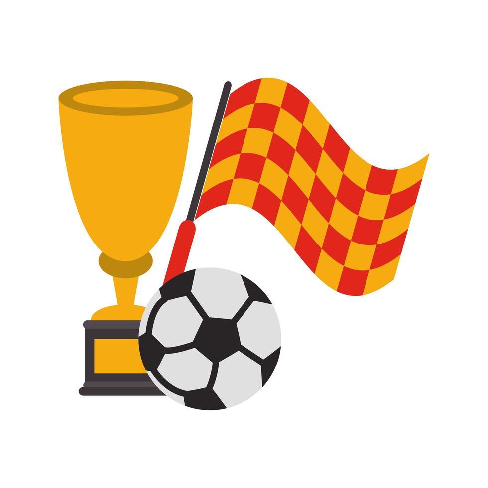 voetbal sport toernooi vlag en trofee vector