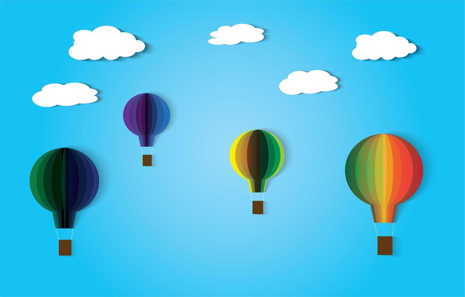 wolken en hete lucht ballonnen papier kunststijl ontwerp vector