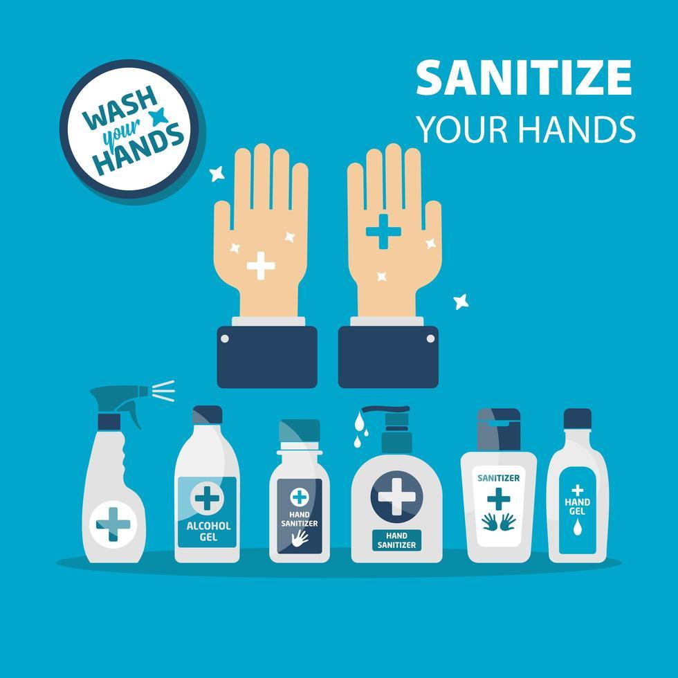 desinfecteer je handen poster vector
