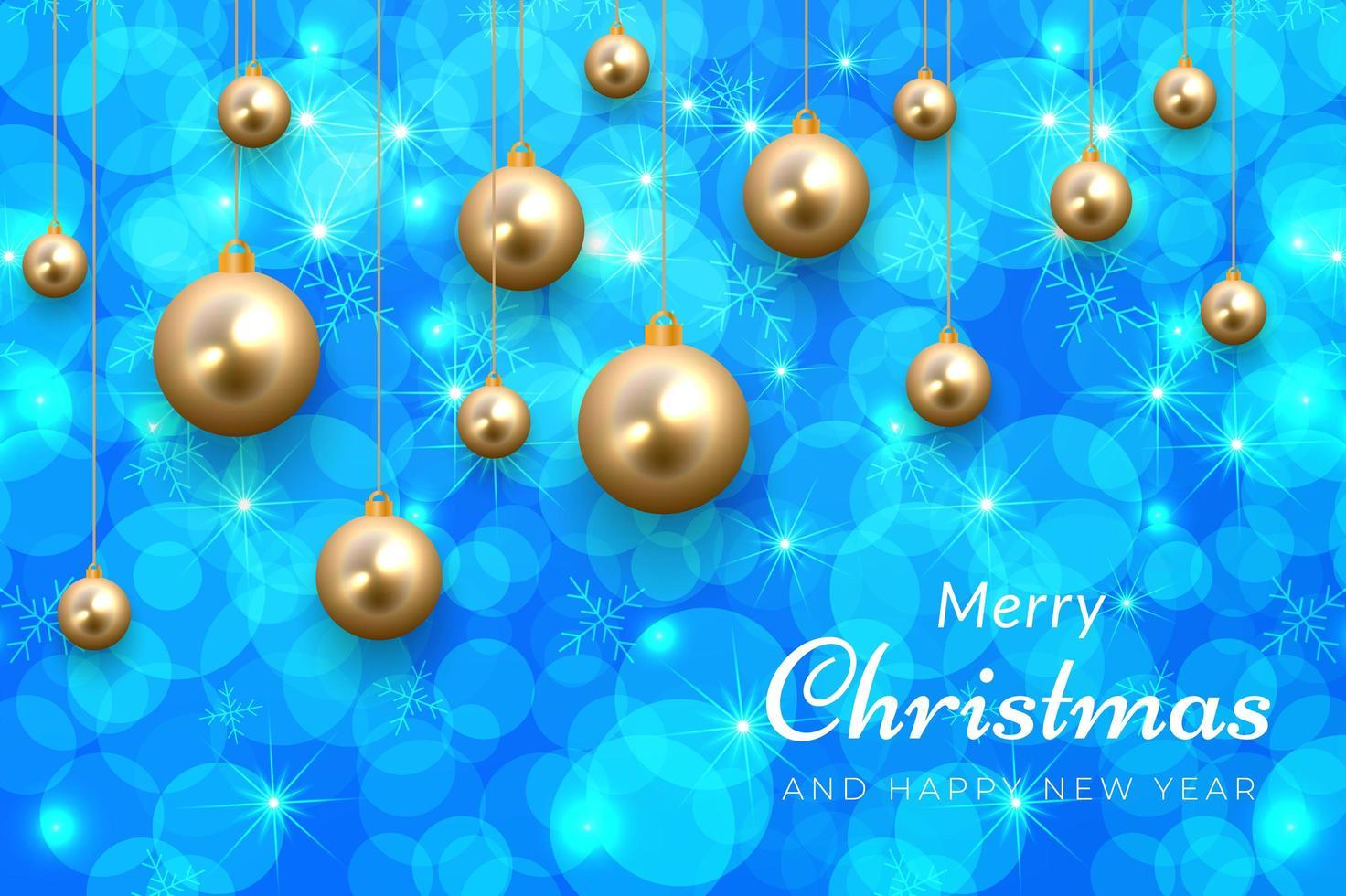 blauwe kerstviering achtergrond met gouden ornamenten vector