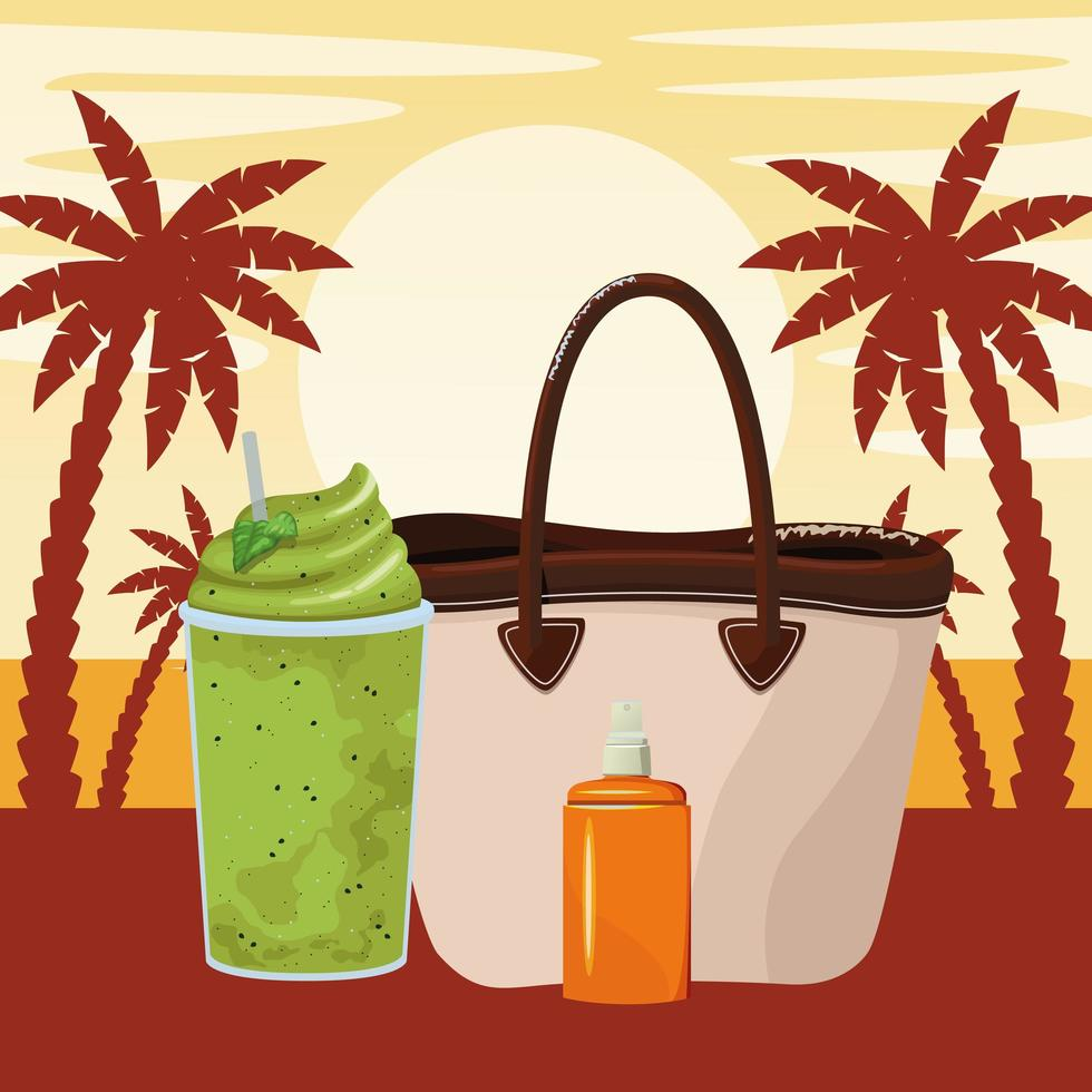 zomer strand en vakantie cartoon vector
