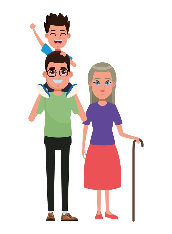 gezin met grootmoederportret vector