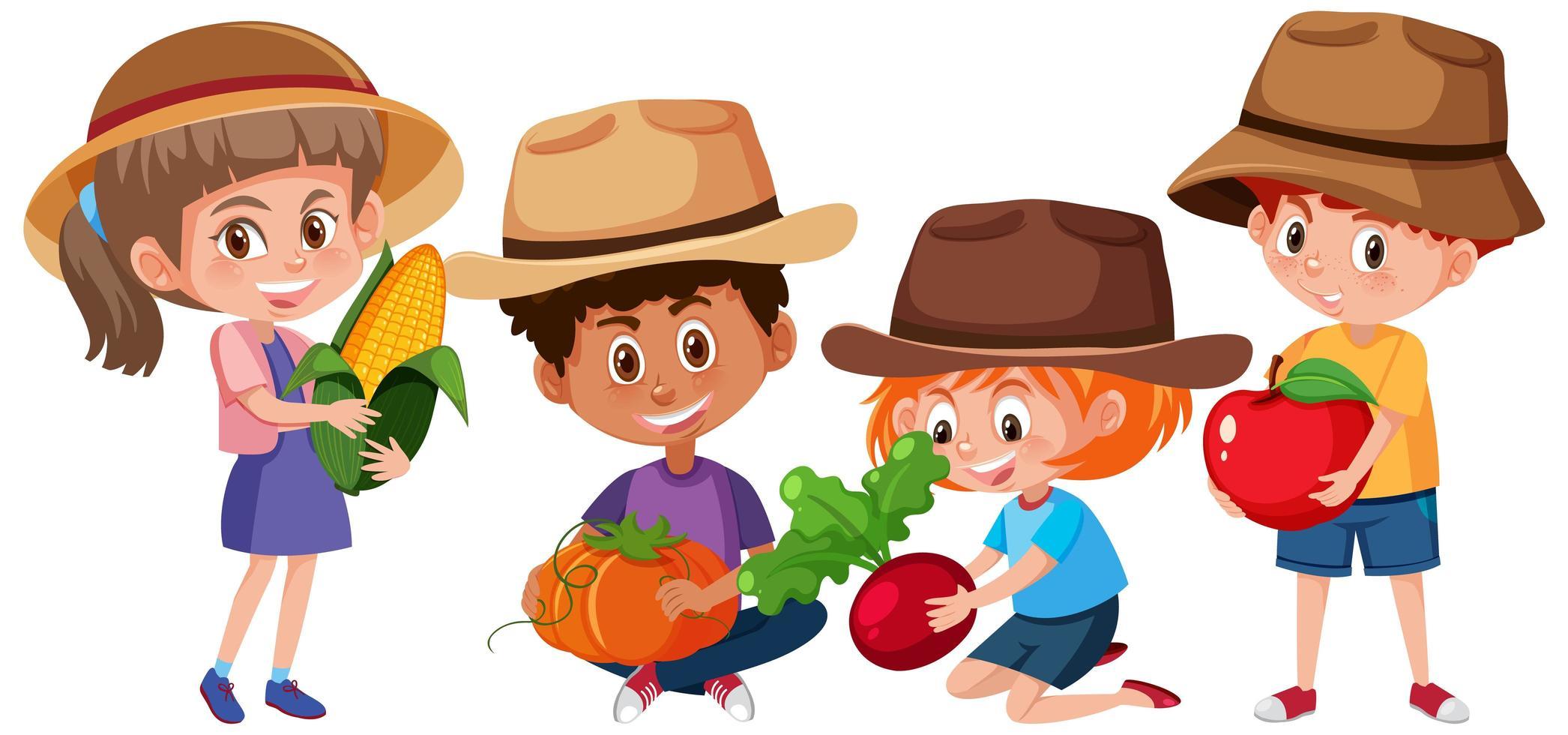 set van verschillende kinderen met fruit vector