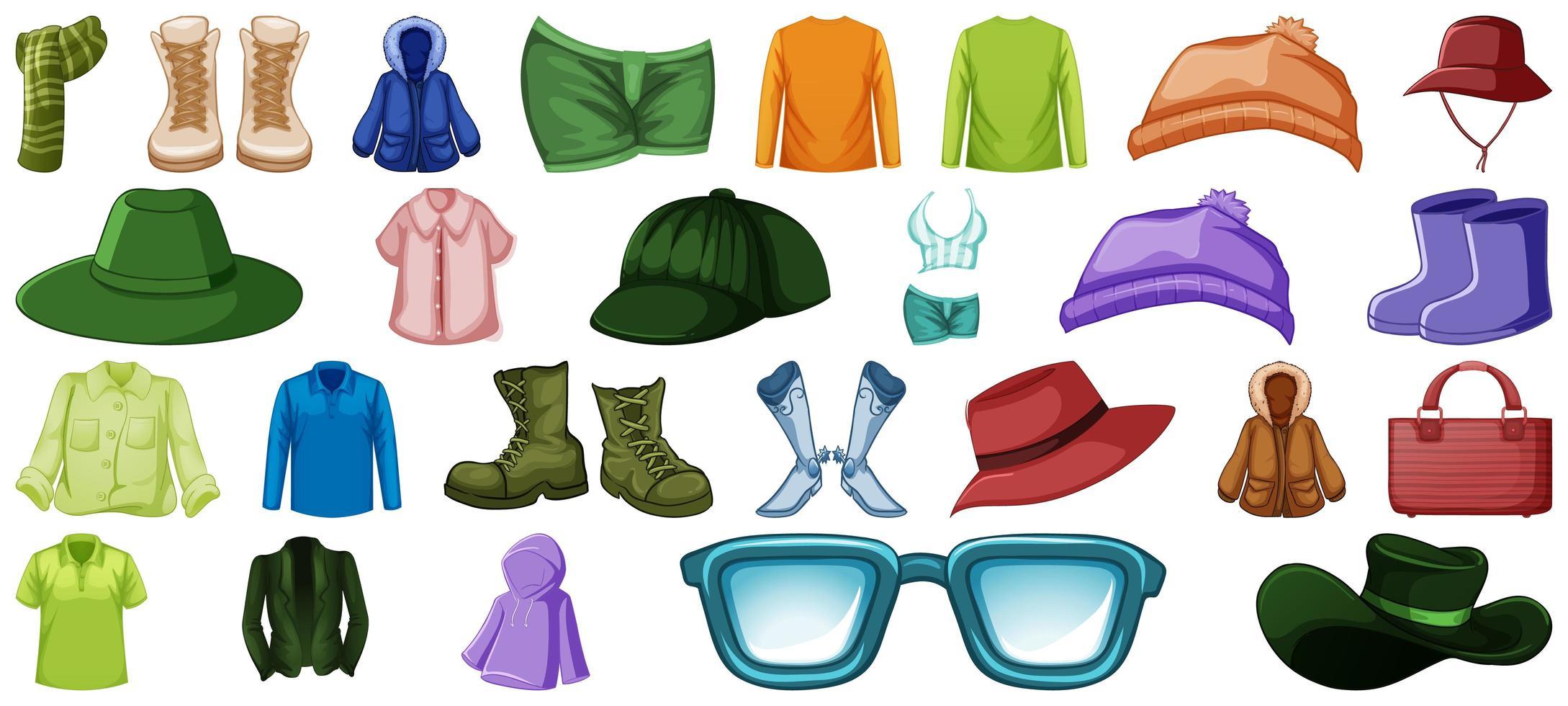 set mode-outfits en accessoires vector