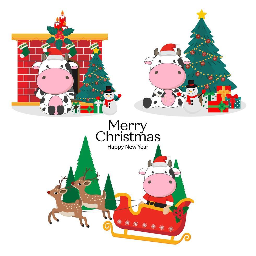 vrolijke kerstkaart met schattige koeien vector
