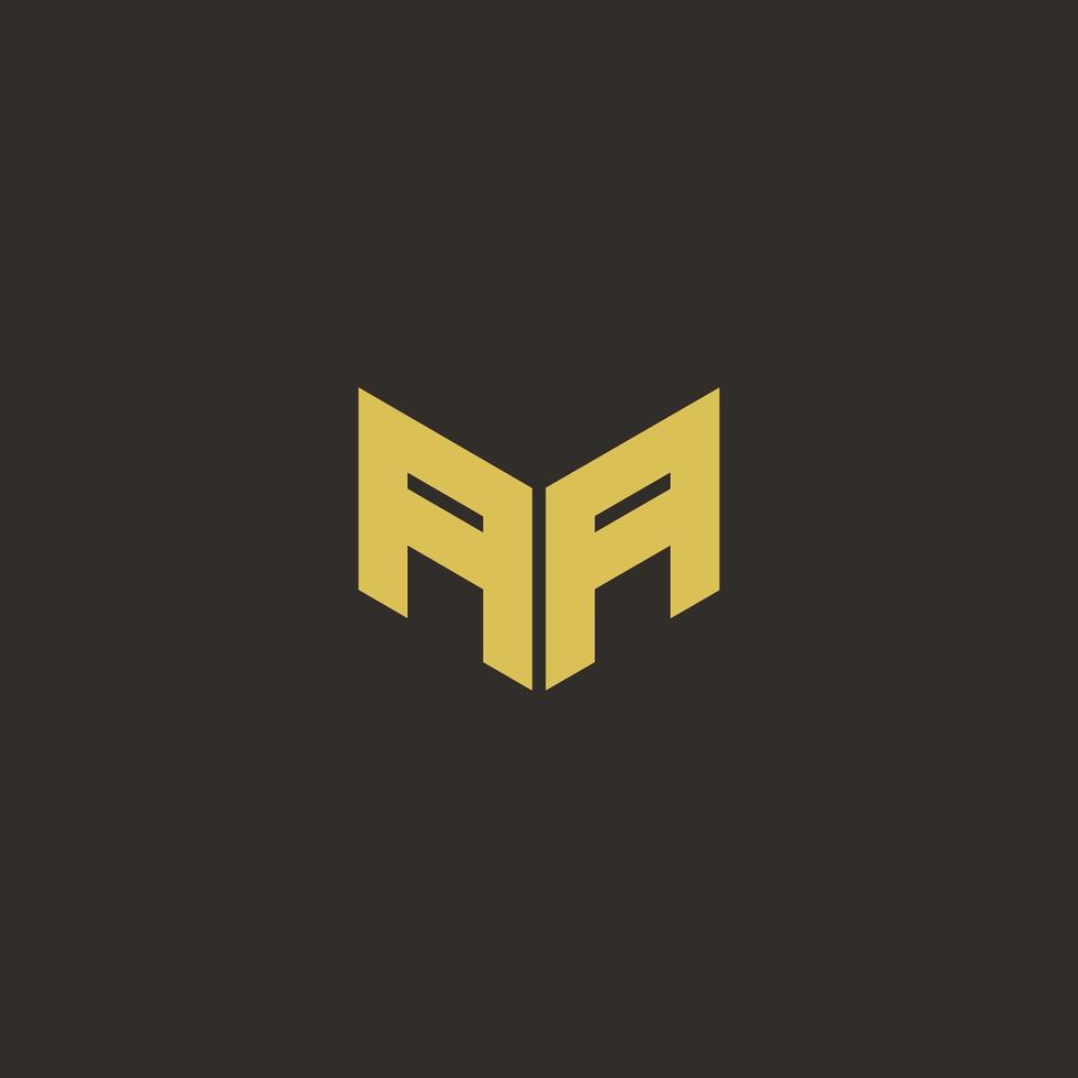 aa logobrief met gouden en zwarte achtergrond vector