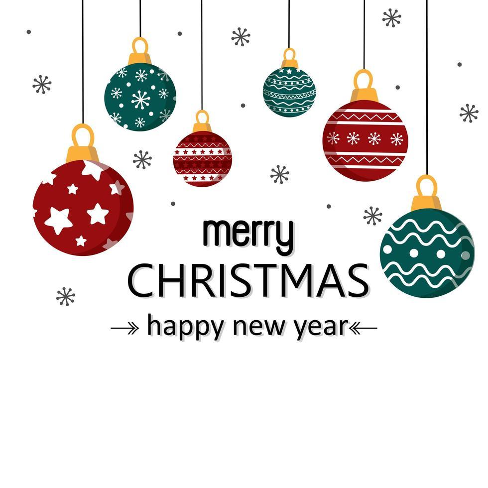 vrolijke kerstkaart met kerstballen vector