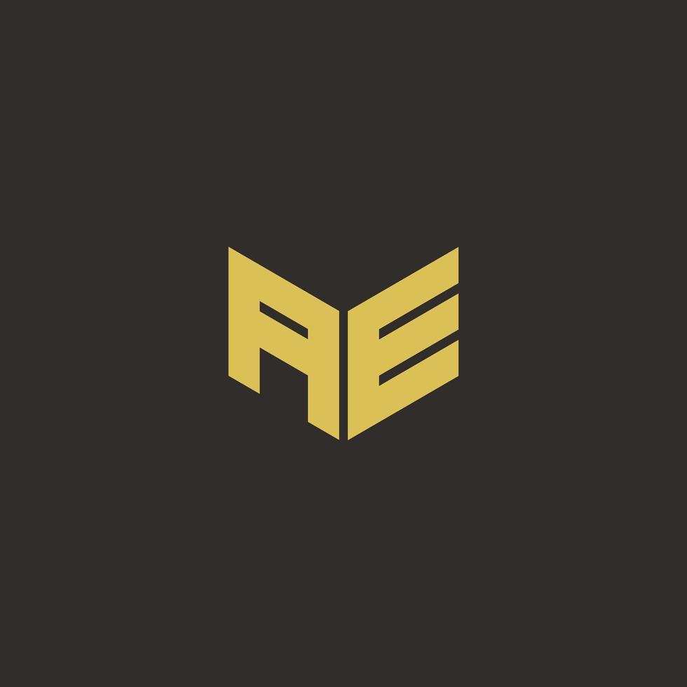 ae logobrief met gouden en zwarte achtergrond vector