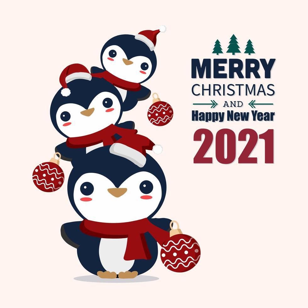 prettige kerstdagen en gelukkig nieuwjaar wenskaart vector