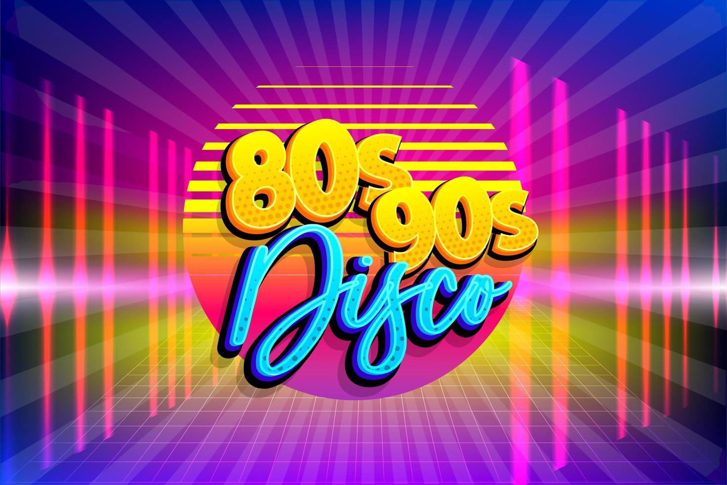 retro 80s 90s neon disco party poster sjabloon vector