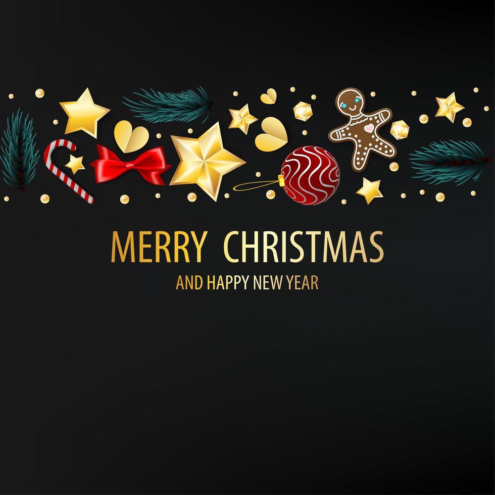 donkere ansichtkaart met kerstelementen vector