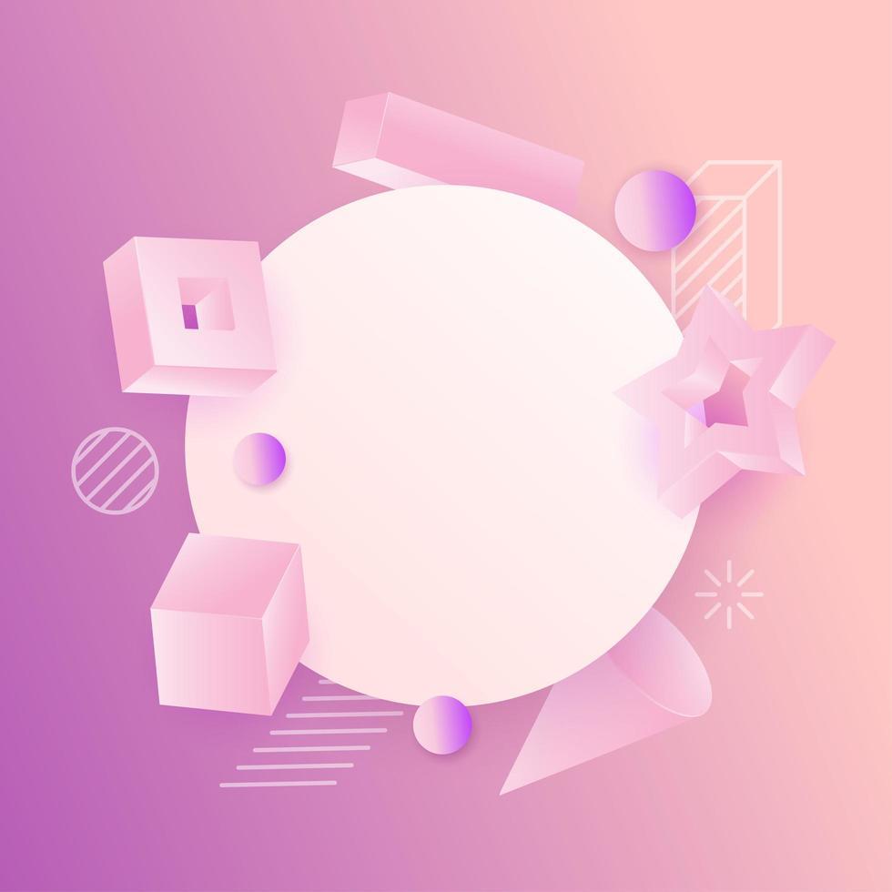 realistische 3D-vormensamenstelling rond cirkelframe vector