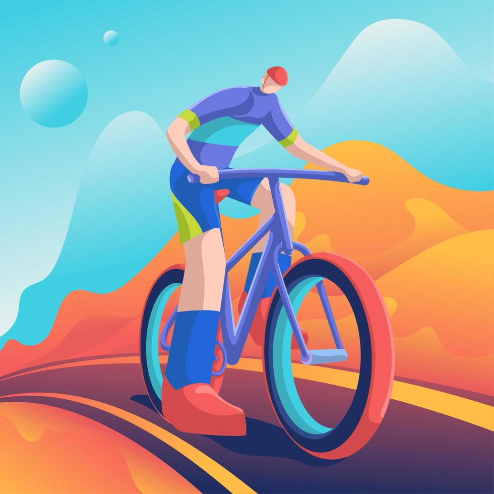 ruiter fietsen in berglandschap vector