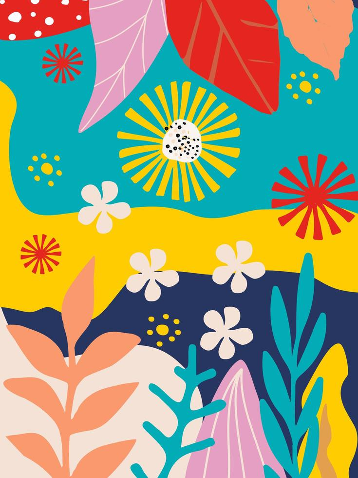 bladeren en bloemen poster achtergrond vector