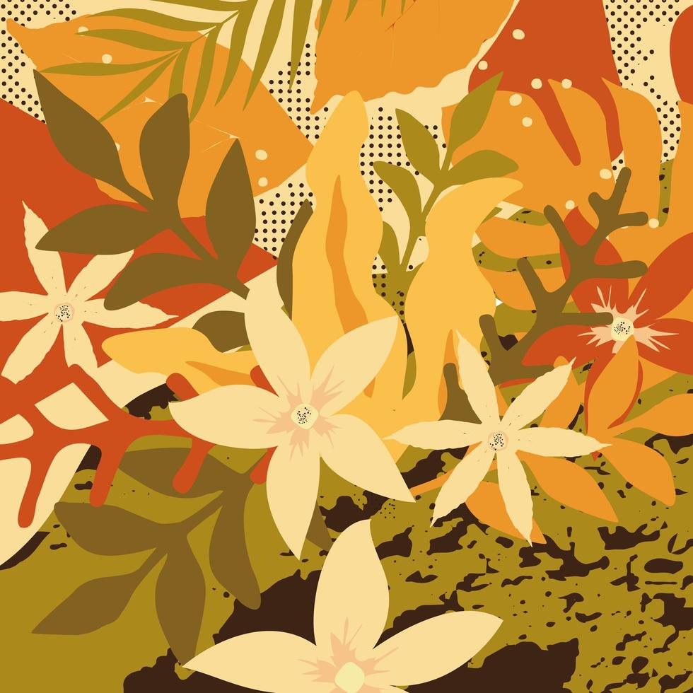 kleurrijke bladeren en bloemen poster achtergrond vector