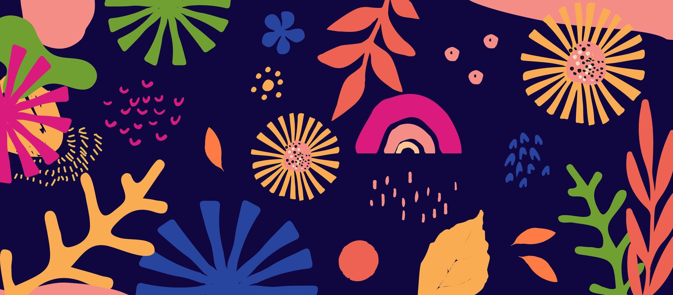 kleurrijke bladeren en bloemen vector
