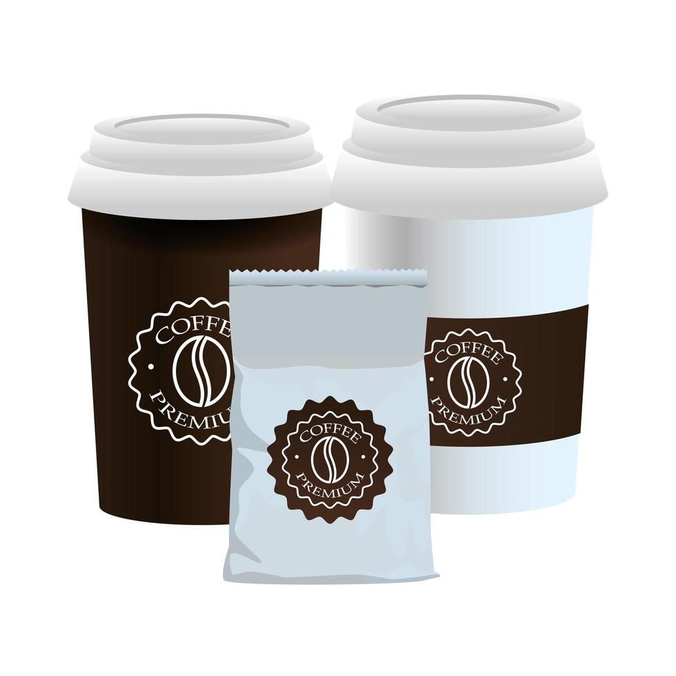 witte kopjes koffie en verpakkingsproducten vector