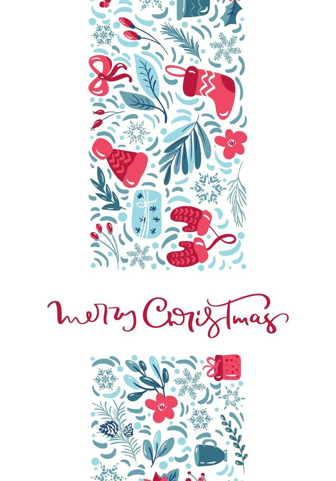 vrolijke kerstkalligrafie en winterelementen vector
