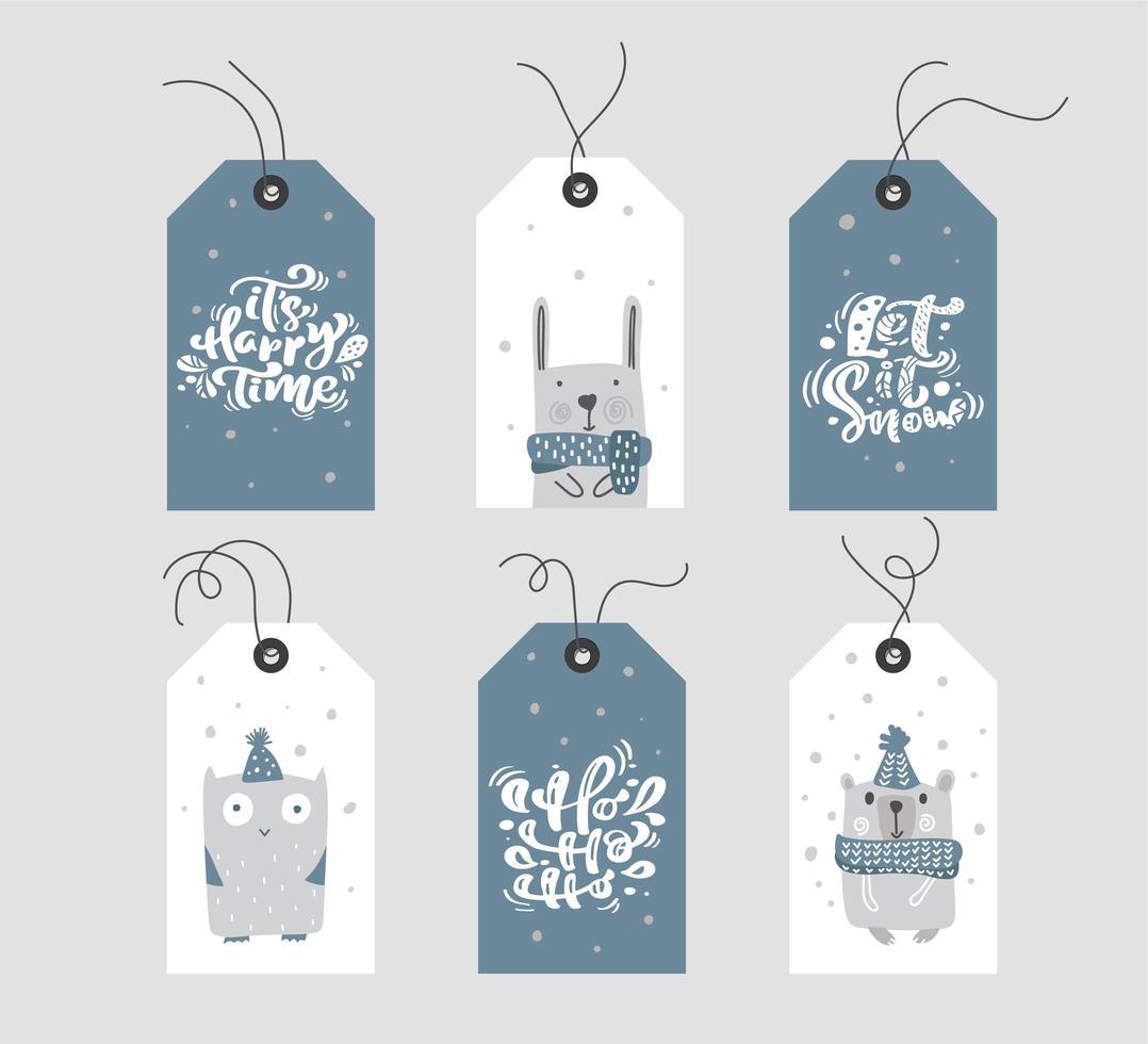 blauwe en witte kerstcadeaumarkeringen met kalligrafie vector