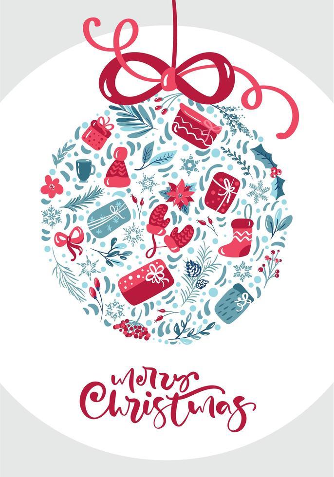 ornament gemaakt van winterelementen met merry christmas-tekst vector
