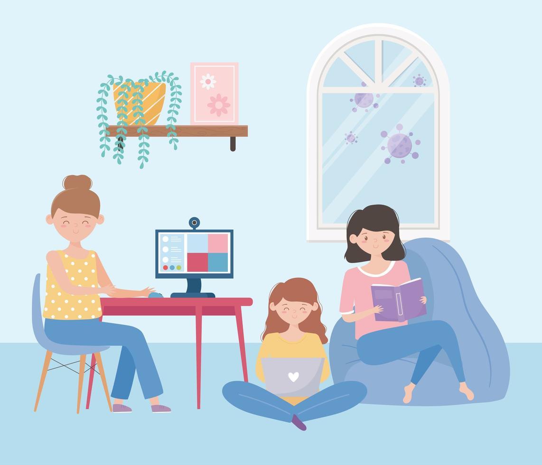 jonge vrouwen die thuis activiteiten doen vector