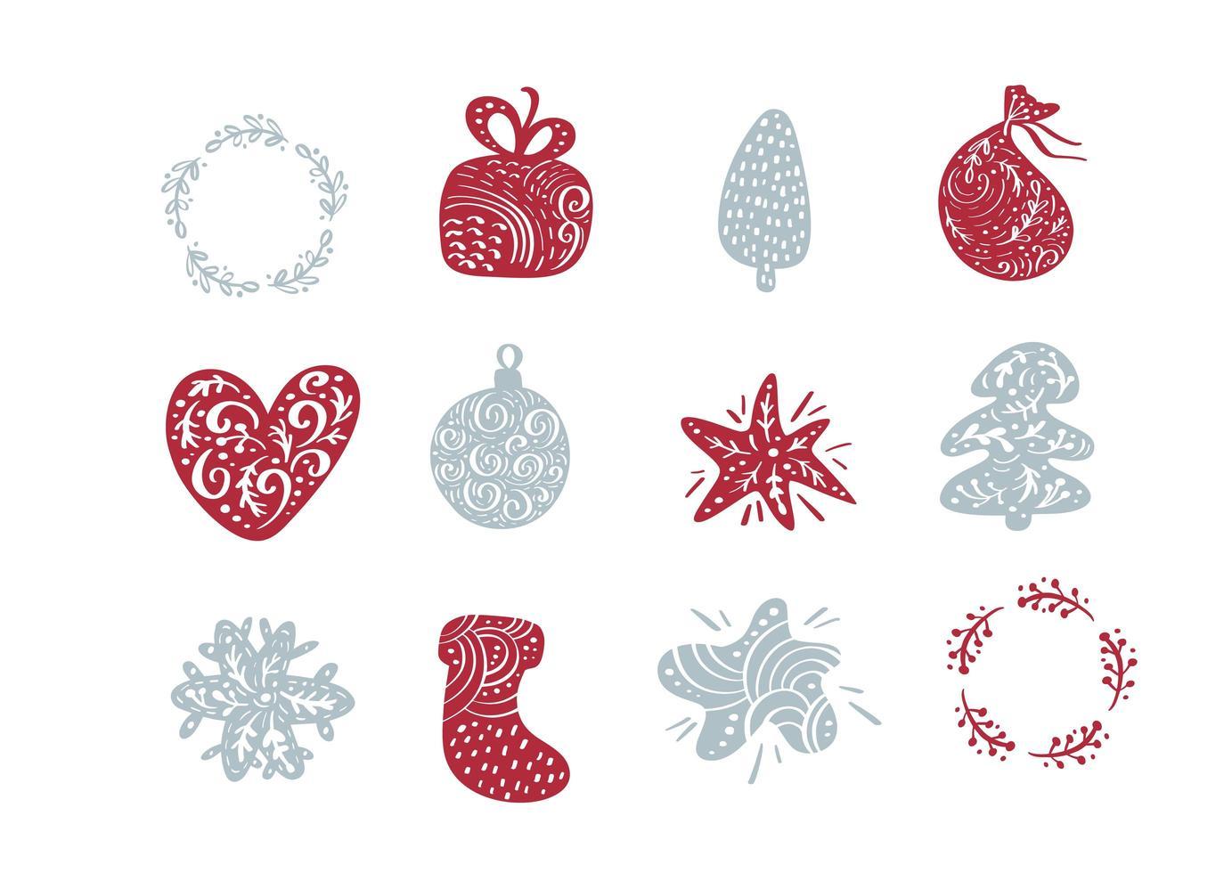kerst doodle elementen vector