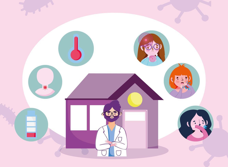 online doktersbezoek concept banner vector